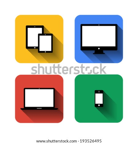 Tablet, computer, laptop, and smart-phone flat design template elements for web and mobile applications. Vector - stock vector