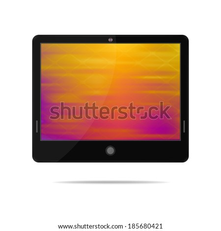 Tablet computer with colorful blurred screen. Object on a white background. EPS-10. Mesh gradient and transparency is used.