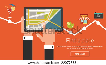 Tablet computer with map and many places. Vector concept for online advertising  - stock vector