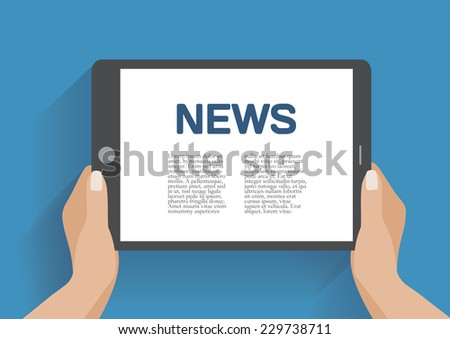 Tablet computer with news icon on the screen. Flat design concept. Eps 10 vector illustration - stock vector