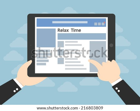 Tablet computer with social network and in businessman hands - stock vector