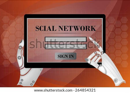 Tablet computer with social network and in hands  - stock vector