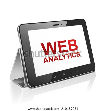 tablet computer with text web analytics on display over white  - stock vector