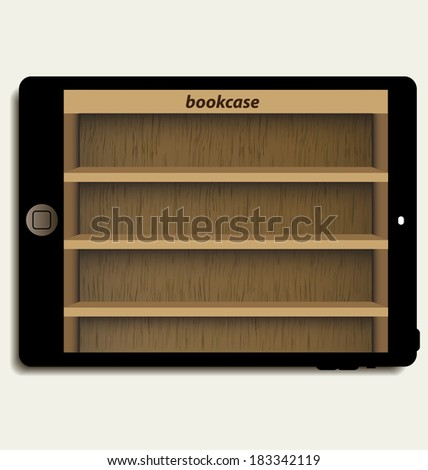 tablet computer with wooden bookcase background on screen for ebook - stock vector