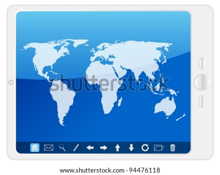 Tablet computer with world map on a white background. Vector illustration.