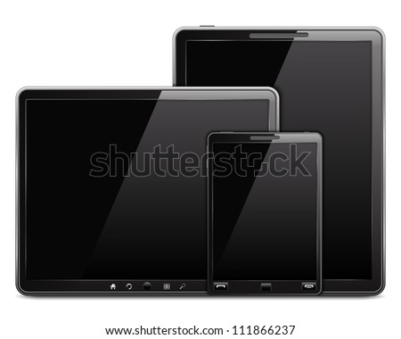 Tablet computers and mobile phone, vector eps10 illustration