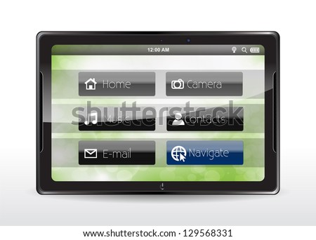 "Tablet concept with a blue ""Navigate"" button - stock vector"
