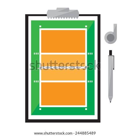 Tablet for Training Volleyball. Vector Illustration - stock vector
