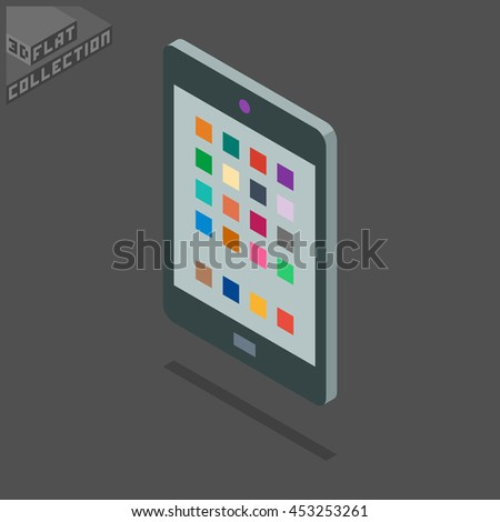 Tablet Icon. 3D Isometric Low Poly Flat Design. Vector illustration.