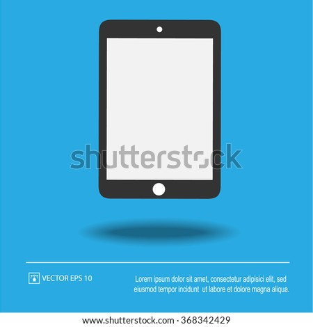 Tablet icon on blue background. Tablet symbol. Isolated vector illustration EPS 10. - stock vector
