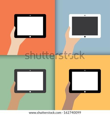 tablet in hands. in color. vector illustration. eps10 - stock vector