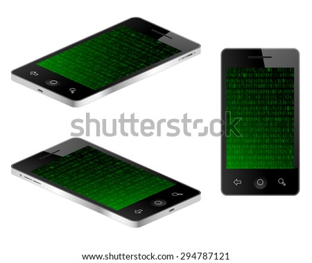 Tablet mobile phone in three views with hexadecimal data background. Vector illustration