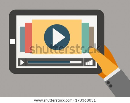 tablet on the hand with video player vector - stock vector