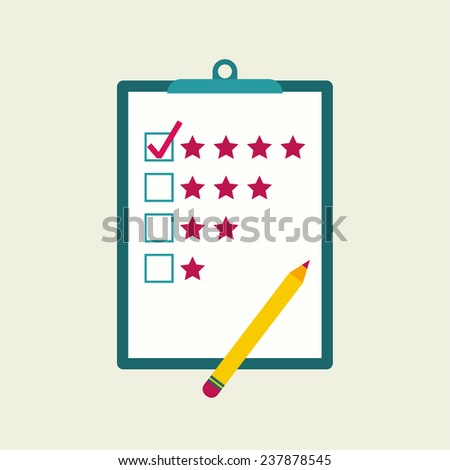 Tablet paper to the rating of the stars and pencil. The concept of evaluation and feedback - stock vector