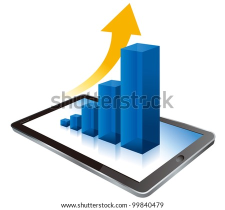 Tablet pc and business graph on the screen. 3d - stock vector