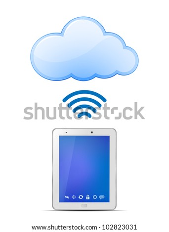 Tablet PC and Cloud computing. Wireless cloud computing concept. Vector Illustration - stock vector