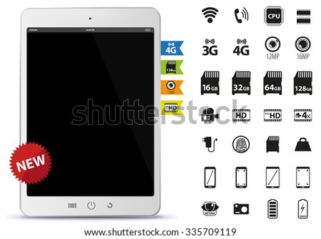 Tablet PC and Icons Set Vector Illustration