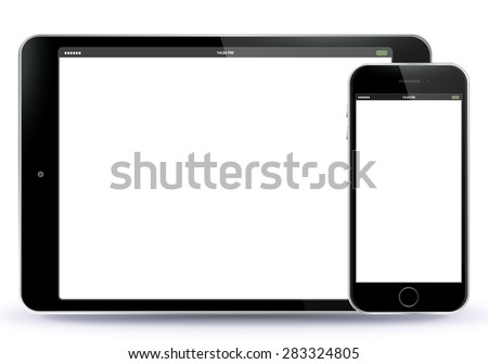 Tablet PC and Mobile Phone Vector illustration. EPS10. - stock vector