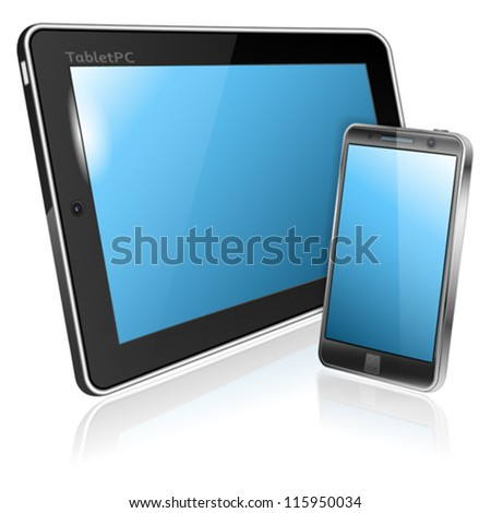 Tablet PC and Smartphone with Blank Screen, vector illustration