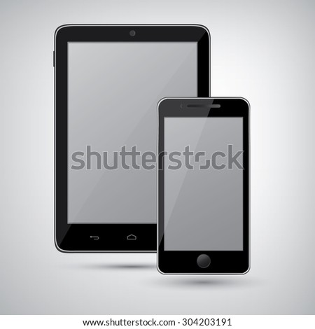 Tablet pc computer and mobile phone on white background,eps10 - stock vector