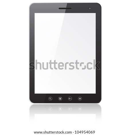 Tablet PC computer with blank screen isolated on white background. Vector  illustration. - stock vector