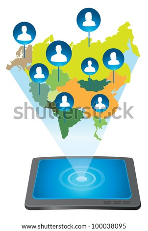 tablet pc connecting with people - vector illustration - stock vector