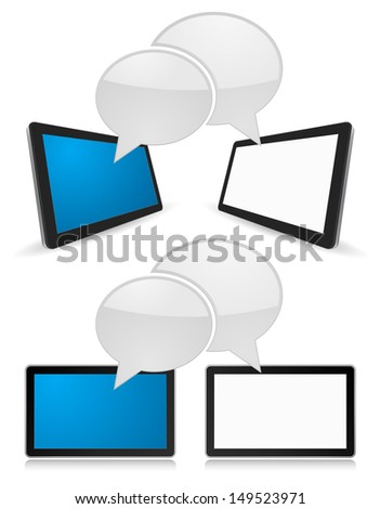 tablet pc 3d with speech bubble