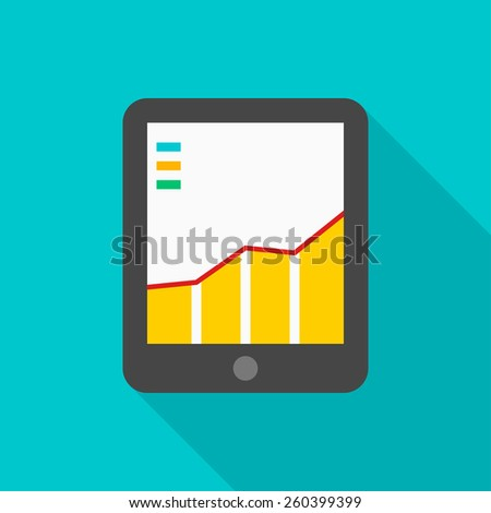 Tablet PC flat icon with long shadow on color background , vector illustration , eps10 - stock vector