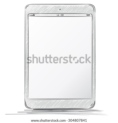 Tablet PC Hand Drawn Vector Illustration. - stock vector