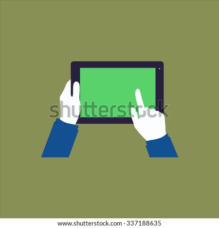 Tablet PC in human hands. Icon Vector. Icon Picture. Icon Graphic. Icon Art. Icon JPG. Icon JPEG. Icon EPS. Icon AI. Icon FLAT. Icon SIMPLE - stock vector