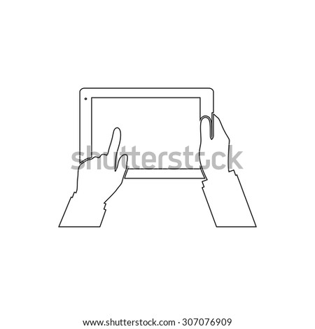 Tablet PC in human hands. Outline black simple vector pictogram