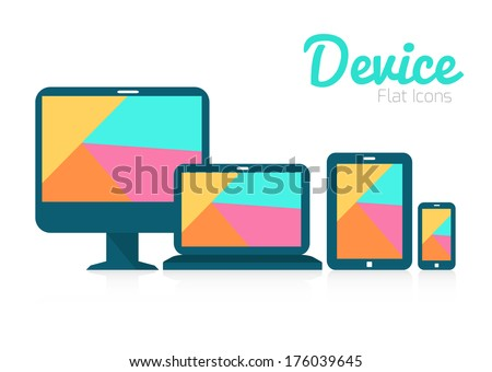 Tablet pc, mobile phone and digital devices. colorful screen. flat icon. vector - stock vector