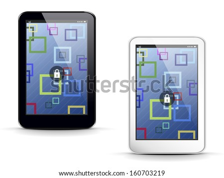 tablet PC on a white background with an abstract background on the screen
