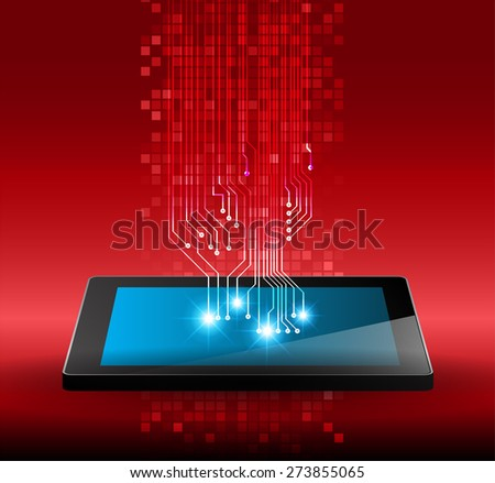 Tablet pc on red circuit digital background. Technology background for computer graphic website internet and business. infographics  - stock vector