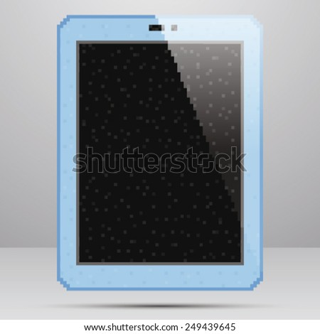 Tablet PC with blank screen. Pixel Art Style.