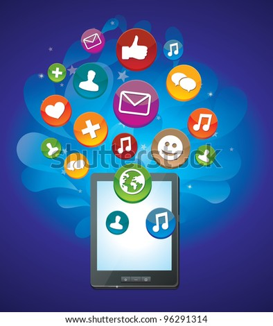 tablet pc with bright social media icons - vector illustration