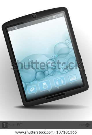 Tablet pc with bubble background. Vector illustration. Eps 10.