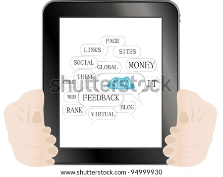 tablet pc with sign and tags on social engine optimization theme