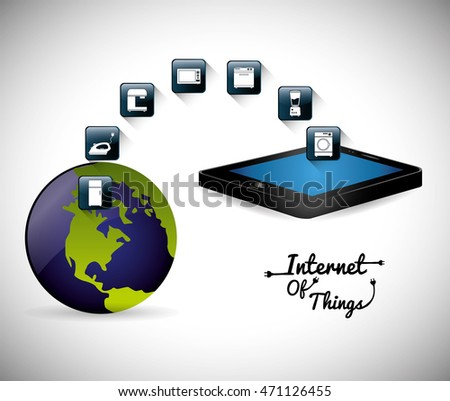 tablet planet internet of things technology digital app appliances icon set. Flat illustration. Vector illustration