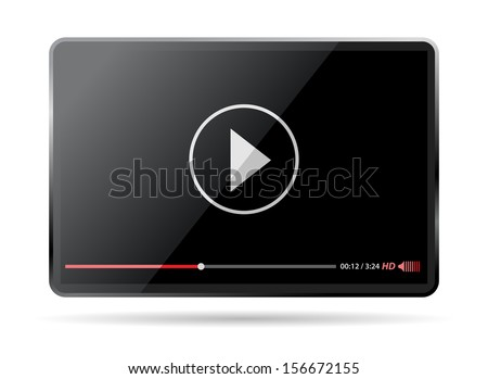 tablet player for video and music - stock vector