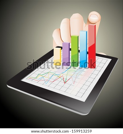 Tablet screen with graph and a hand. - stock vector