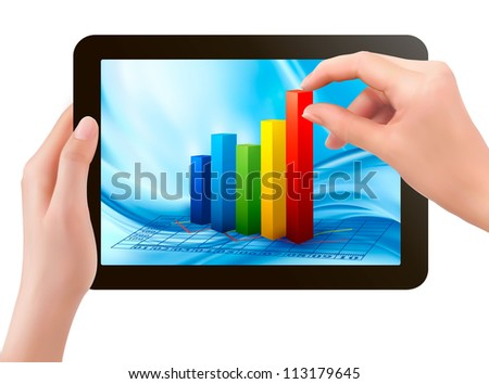 Tablet screen with graph and a hand. Vector. - stock vector