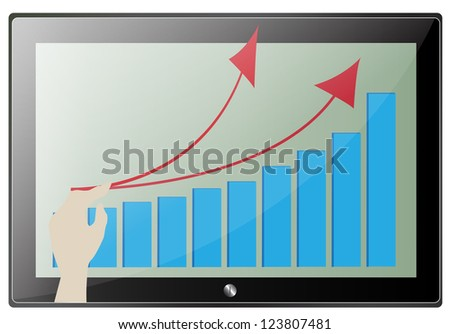 Tablet screen with graph and  hand point. Vector - stock vector