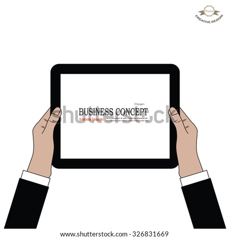 tablet screen with hands. Business man  hold tablet.Vector illustration.