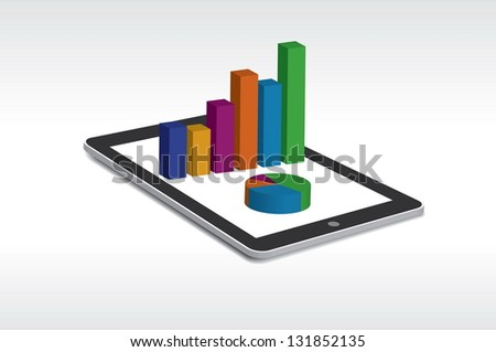 Tablet showing a spreadsheet and a paper with statistic charts, surrounded by some 3d charts - stock vector