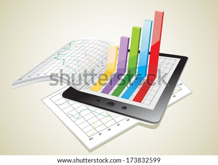 Tablet showing a spreadsheet and a paper with statistic 3d charts - stock vector