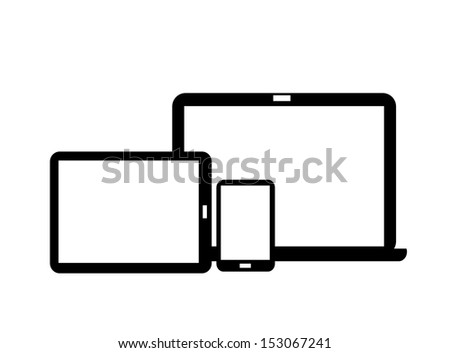 Tablet, smart-phone and laptop icons vector - stock vector