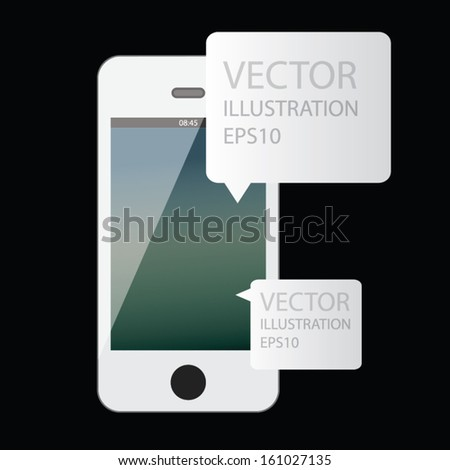 tablet smart phone concept design with paper label. vector illustration - stock vector