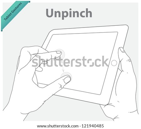 Tablet touch gestures. Pinch screen - stock vector