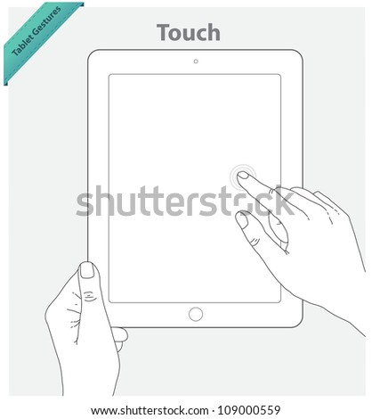 Tablet touch gestures. Touch screen. Vertical position - stock vector